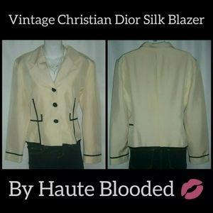 Vintage Silk Christian Dior Blazer Rhinestone 10